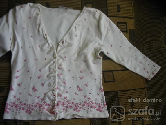 Swetry biały sweter H M w róże