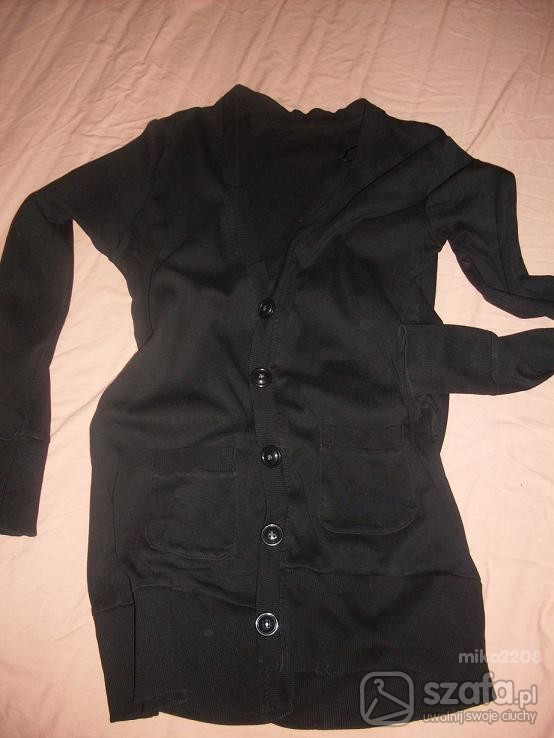 Swetry Czarny kardigan long L