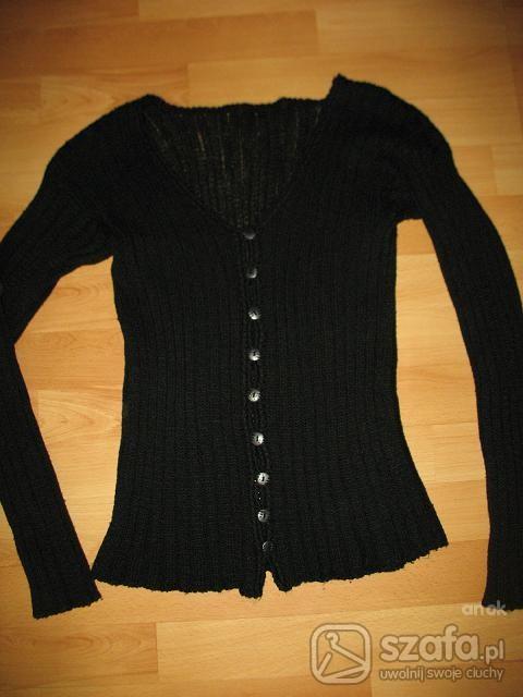 Swetry sweterek czarny rozpinany