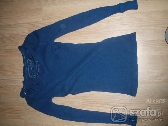 bluzka niebieska z długim rękawem zwykła