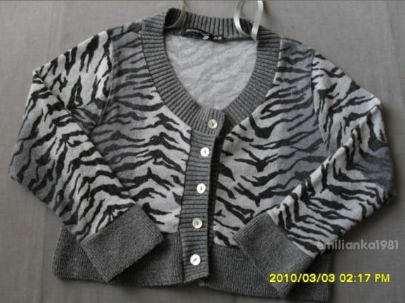 Swetry Atmosphere Panterka Zebra Sweterek Bolerko Nowa
