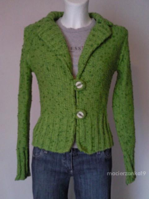 Swetry Swetr Żakiet Soczyście zielony