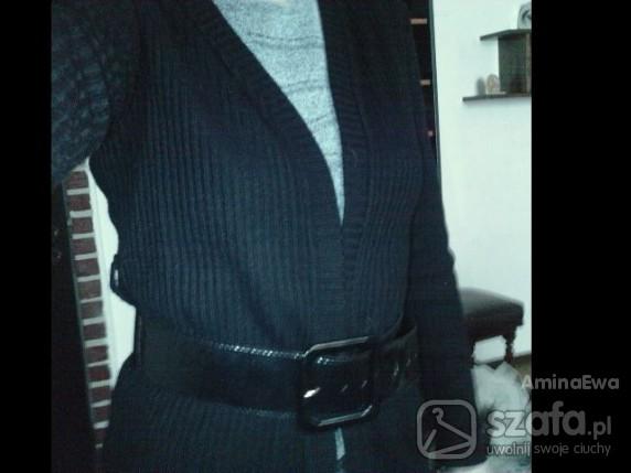 Swetry Czarny długi sweter kardigan wiązany paskiem