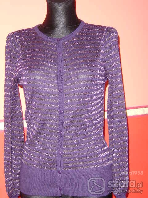 Swetry Wrzosowy cienki sweterek z błyszczącą nitką
