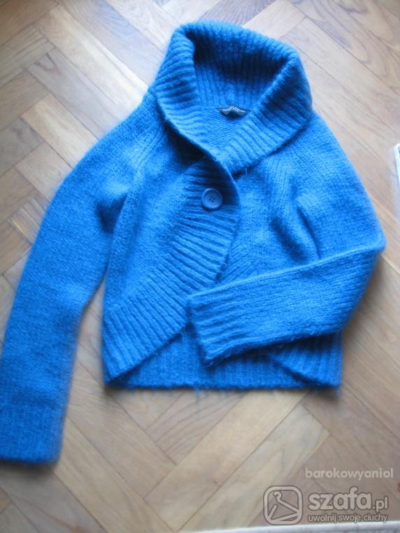 Swetry niebieski ciepły na guzik