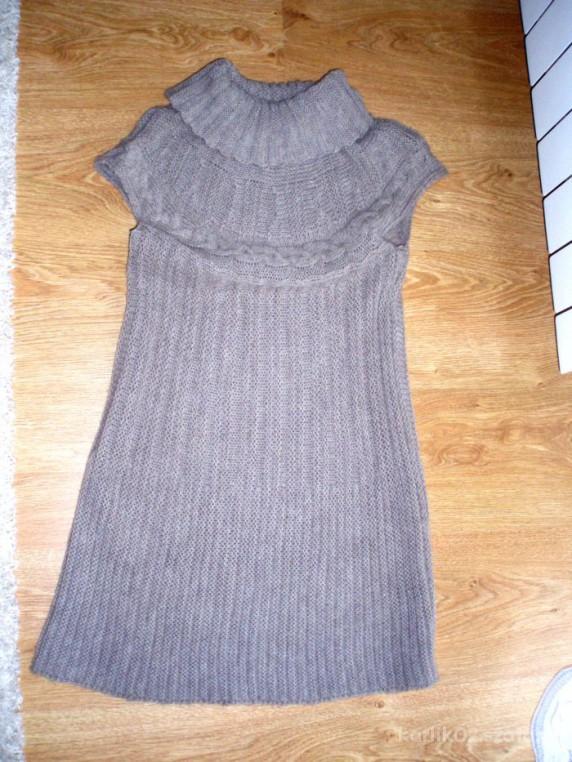 Swetry TUNIKA SWETEREK DŁUŻSZY KOLOR KAWOWY