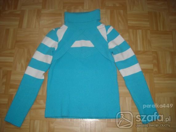 Swetry Niebieski prześliczny sweterek w paski wycięcia