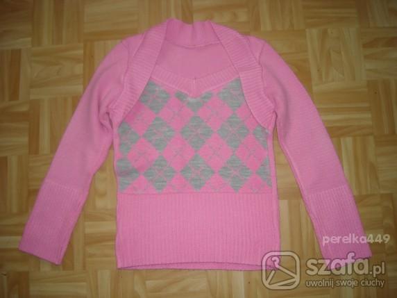 Swetry różowy sweterek z rombami