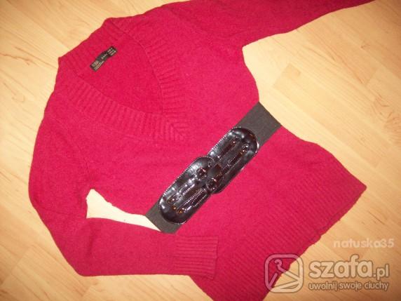 Swetry Bordowy sweter do leginsów