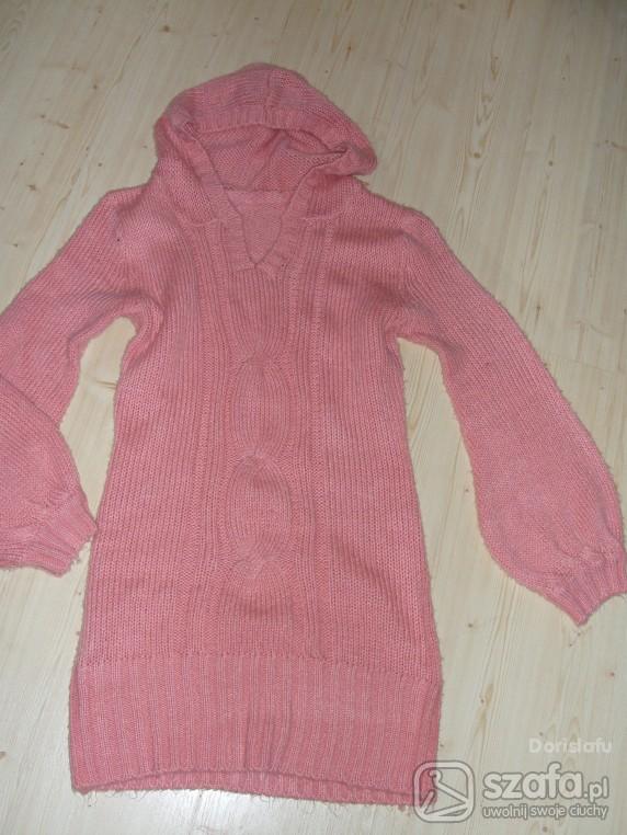 Swetry różowiutka sukienka sweterek M