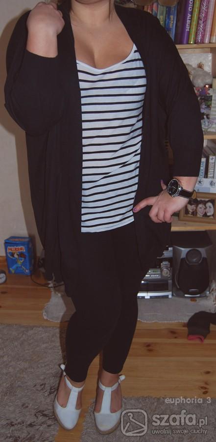 Swetry czarny długi kardigan