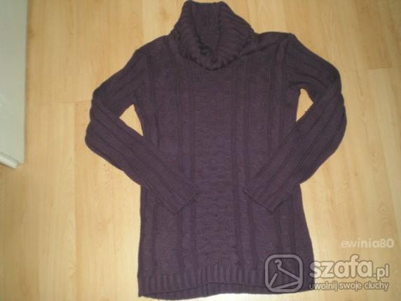 Swetry śliwkowy golf tunika