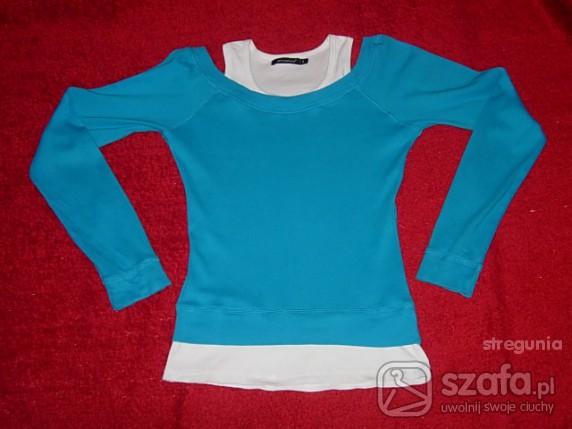 Swetry Turkusowo biały bliźniak 38