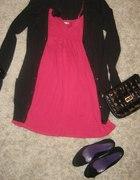 różowa tunika i sweterek