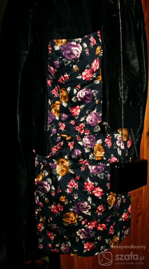 Imprezowe floral and leather