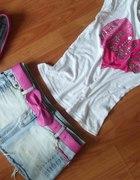 jasny jeans i róż...