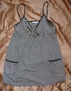 tunika w paski w marynarskim stylu z kieszonkami