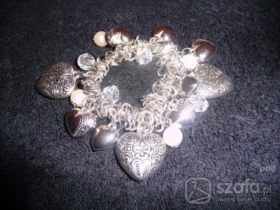 bransoletka posrebrzana duże serca
