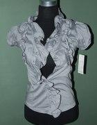 Szara bluzka koszulowa z bufkami i żabotem