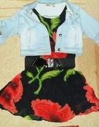 Sukienka w kwiaty i Jeansowa jasna kurteczka