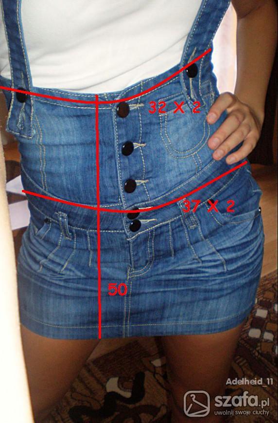 Extra nowa jeansowa wysoki stan na szelkach