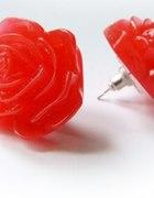 Kolczyki sztyfty duże RÓŻE akrylowe czerwone
