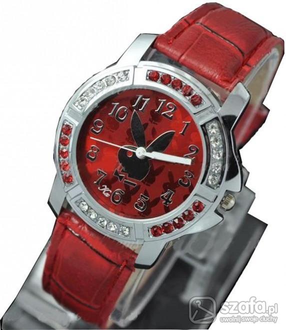 Pozostałe Zegarek Playboy cyrkonie czerwony