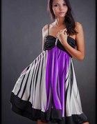 Tęczowa satynowa sukienka