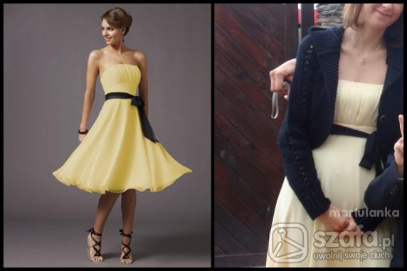 Na specjalne okazje żółta sukienka z czarną wstążką