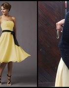 żółta sukienka z czarną wstążką