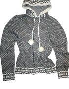 szary sweterek z kapturem i pomponami Orsay nowy