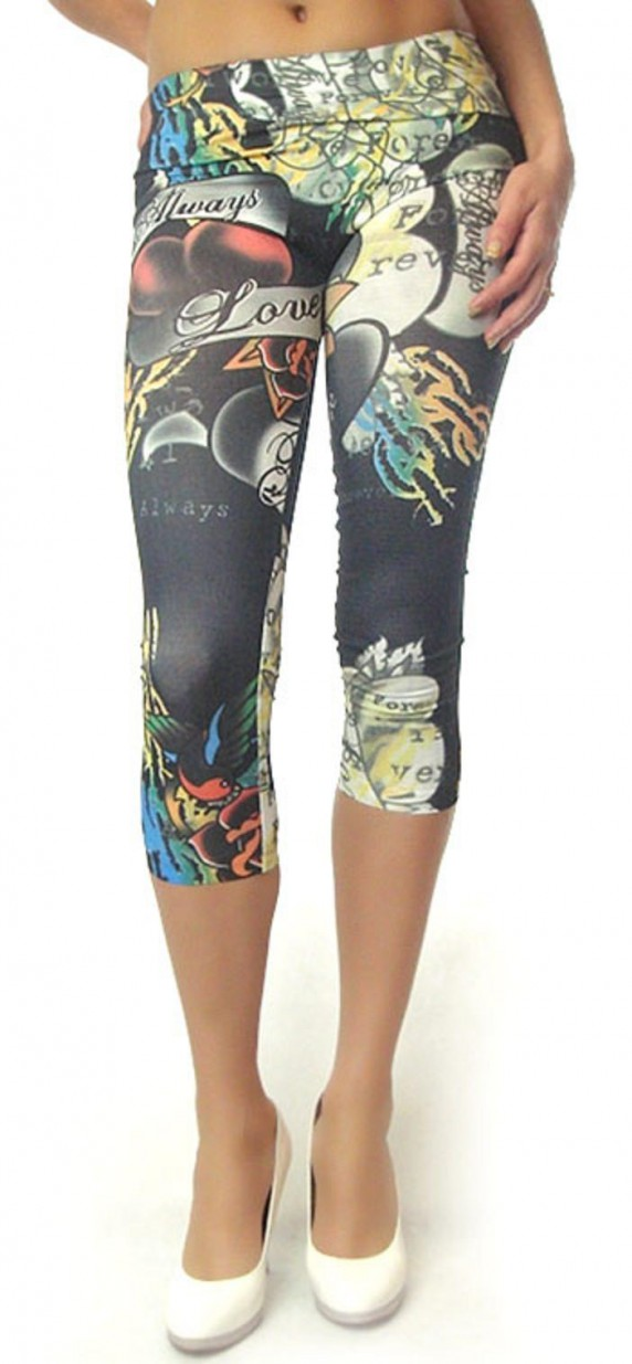 Tattoo legginsy rybaczki