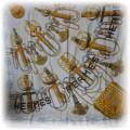 HERMES piekna kremowa z jedwabiu apaszka