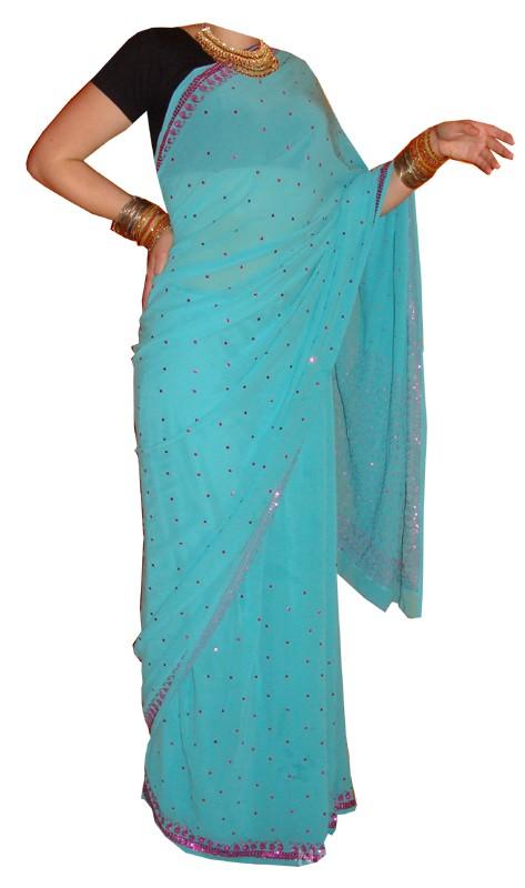 Mój styl turkusowe sari