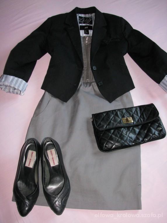 Eleganckie Szara sukienka na zip z krótkim żakietem