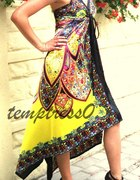 satynowa suknia i gladiatorki...