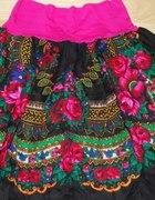 FOLK rewelacyjna spódnica w róże rozm uniwersalny