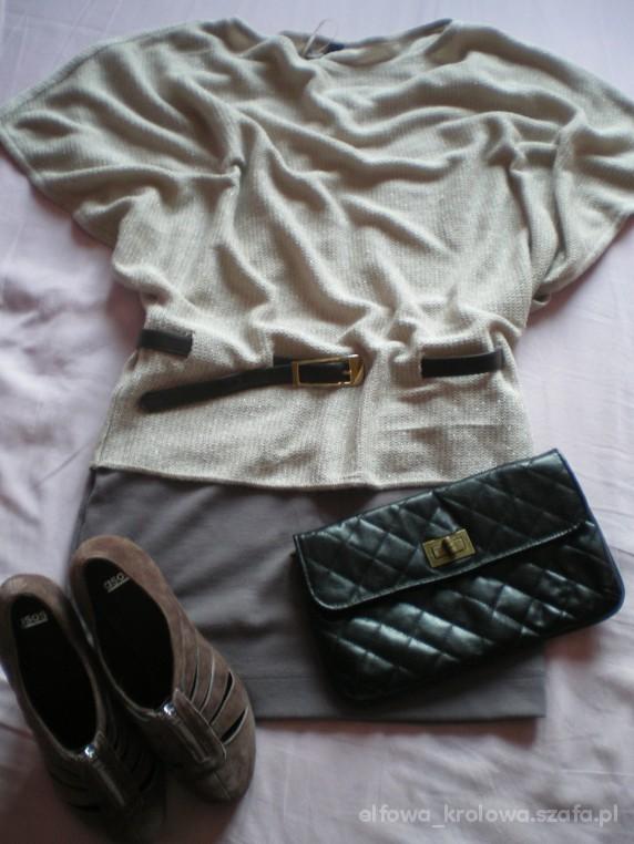 Eleganckie Beżowy sweterek czekoladowe botki wygodnie ma być