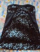 Boska sukieneczka SATYNA CEKINY rozmiar L