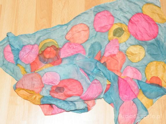 Chusty i apaszki piękna kolorowa duża apaszka naturaly jedwab