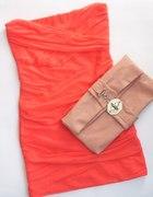 TOP SHOP BOSKA BANDAGE DRESS pomaranczka zip