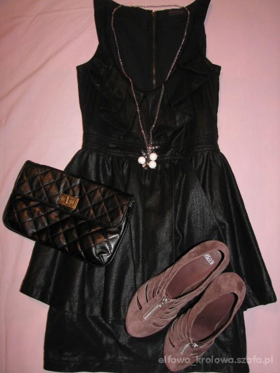 Imprezowe Czarna sukienka z falbana zapinana na zip