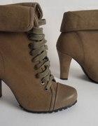 botki military style worker boots khaki