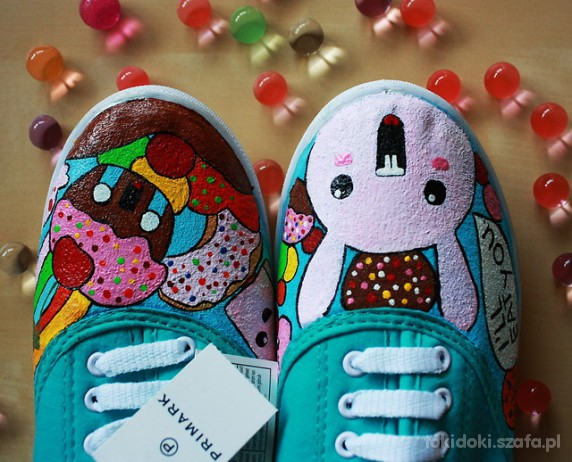 Trampki kolorowe trampki króliczki handmade