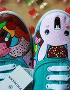 kolorowe trampki króliczki handmade