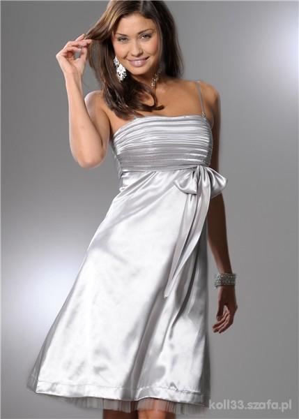 sukienka satynowa kokarda