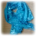 śliczna błękitna apaszka z cekinami