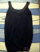 Czarna tunika sukienka bombka z koralikami sm l