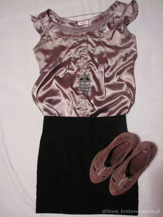 Imprezowe Satynowa bluzeczka i bandażowa mini