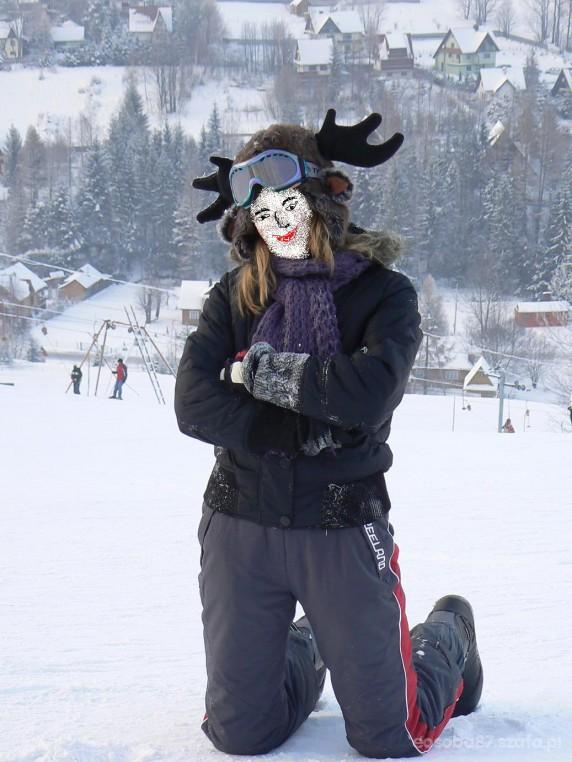 Sportowe czapa renifer snowboard snieg